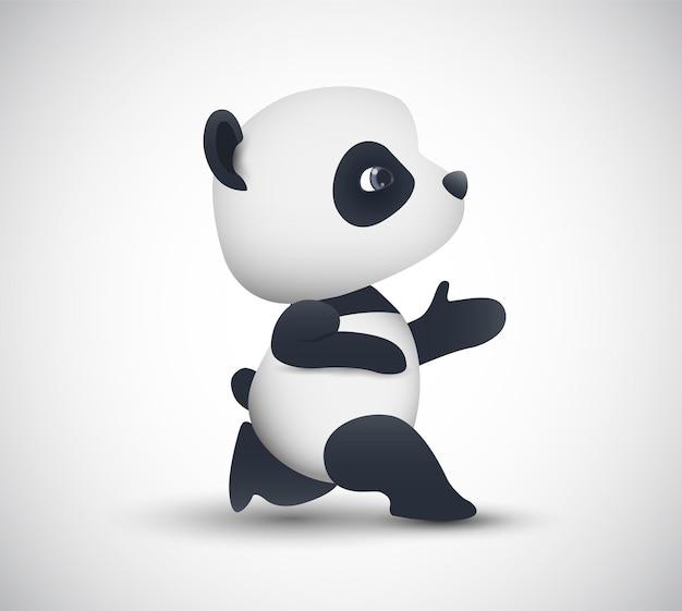 Vektor niedlicher panda geht zum sport, isoliert auf weißem hintergrund