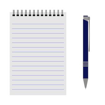 Vektor-notizbuch mit blauem stift auf weißem hintergrund