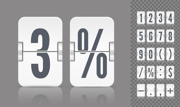 Vektor numerische vorlage für ihr design. satz flip-anzeigetafel mit reflexionen einschließlich zahlen und symbolen für weißen countdown-timer oder kalender auf grauem hintergrund.