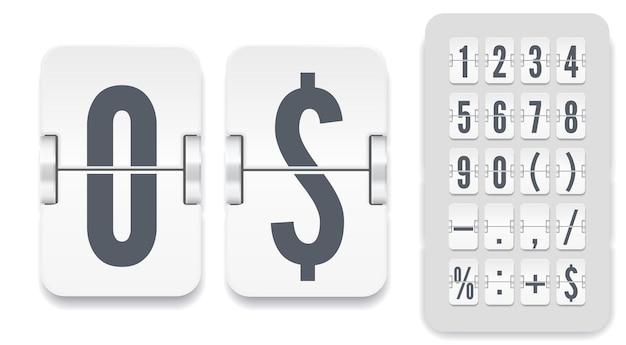 Vektor numerische vorlage für ihr design. satz flip-anzeigetafel mit schatten, einschließlich zahlen und symbolen für weißen countdown-timer oder kalender auf hellem hintergrund.