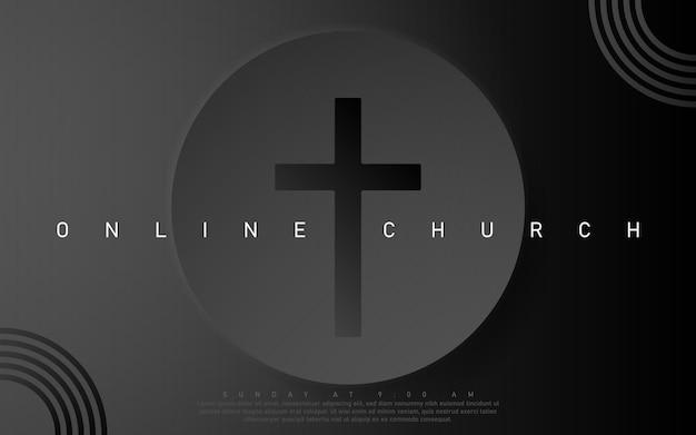 Vektor-online-kirche-banner. verehre jesus. live-event der kirche. schwarzer hintergrund.
