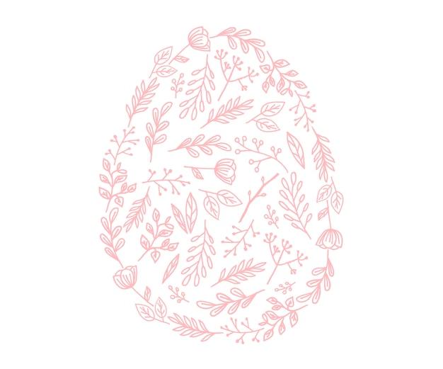 Vektor-osterei-symbol. illustration im flachen stil. osterei mit blumen gemasert.