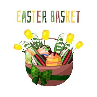 Vektor. ostern korb mit schokoladenfarbenen eiern und frühlingsblumen.