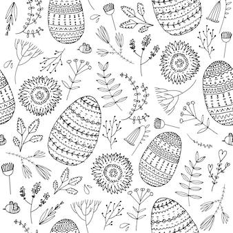 Vektor ostern nahtlose doodle-muster. handgezeichnete eier, blumen, blätter hintergrund. urlaubskonzept für einladung, karte, ticket, branding, logo, label, emblem. malbuchseite für erwachsene kinder