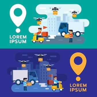 Vektor paket- und postzustellung, schnelle und kostenlose lieferung