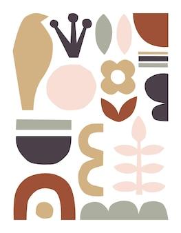 Vektor-papier geschnittene stücke trendige abstrakte papierausschnitte collage