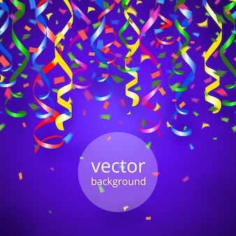 Vektor-partei luftschlangen und konfetti auf blauem hintergrund