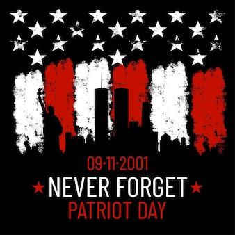 Vektor-patriot-tagesillustration. wir werden neuer 9 \ 11 / patriotische vektorgrafik mit amerikanischer flagge vergessen