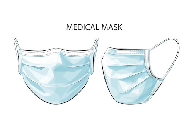 Vektor person, die medizinische chirurgische einweg-gesichtsmaske trägt, um gegen stadt mit hoher lufttoxizität zu schützen