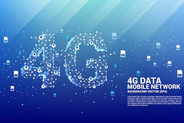 Vektor polygonpunkt verbinden linie geformtes mobiles netz 4g.