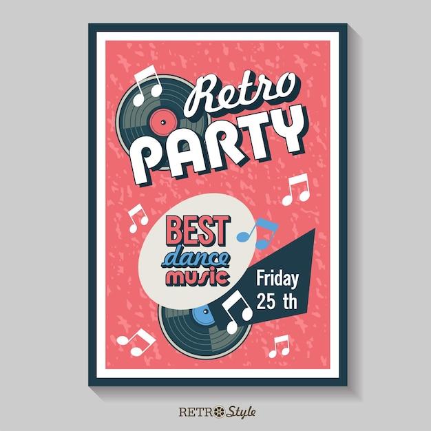Vektor-poster. retro-party. die beste tanzmusik. vintage-emblem mit einer schallplatte.