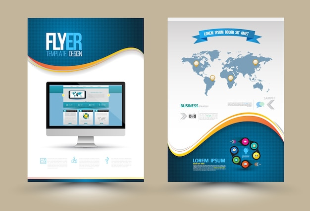 Vektor-poster-vorlagen mit website auf computer