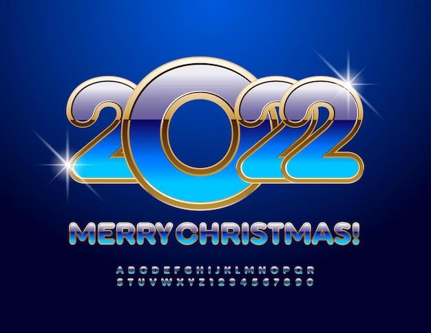 Vektor-premium-grußkarte frohe weihnachten 2022 blau und gold glänzend alphabet buchstaben und zahlen
