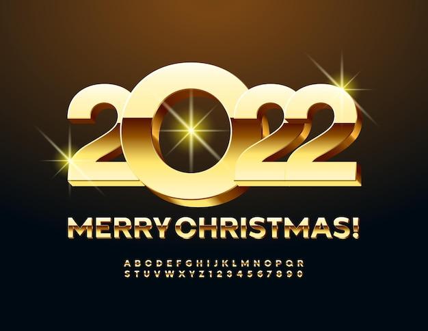 Vektor-premium-grußkarte frohe weihnachten 2022 glänzendes gold alphabet buchstaben und zahlen set