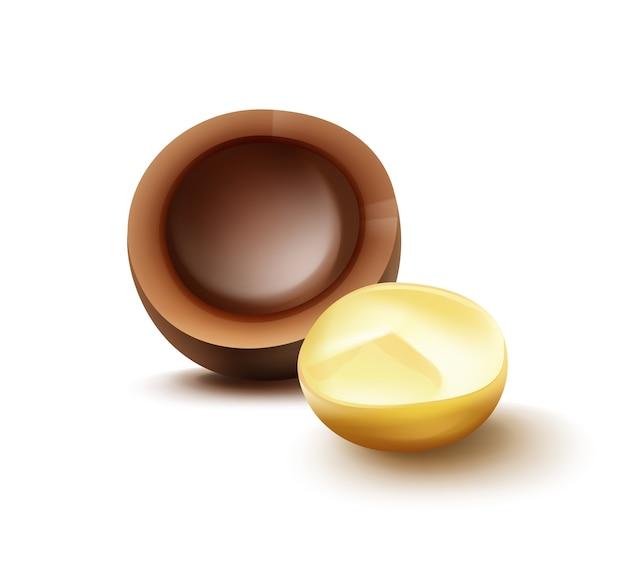 Vektor realistische brocken macadamia-nuss mit muschel-nahaufnahme-seitenansicht lokalisiert auf weißem hintergrund