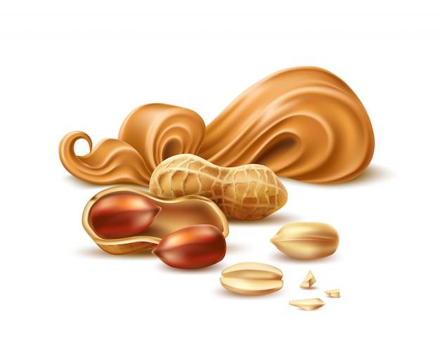 Vektor realistische erdnussbutter mit schale und nüssen