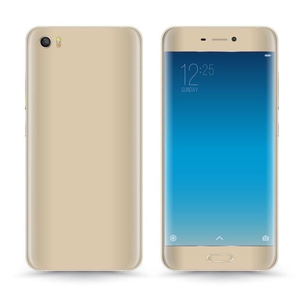 Vektor realistische gold smartphone isoliert