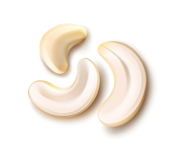 Vektor realistische handvoll cashewnüsse schließen oben draufsicht lokalisiert auf weißem hintergrund