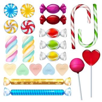 Vektor realistische illustrationen von süßigkeiten und süßigkeiten