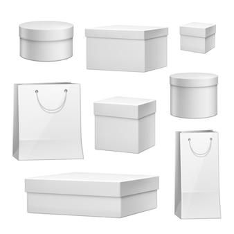 Vektor realistische kartonpaket geschenkbox set