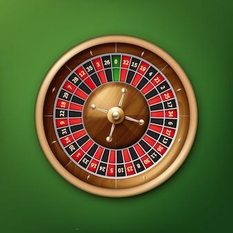 Vektor realistische kasino-roulette-rad-draufsicht lokalisiert auf grünem pokertisch