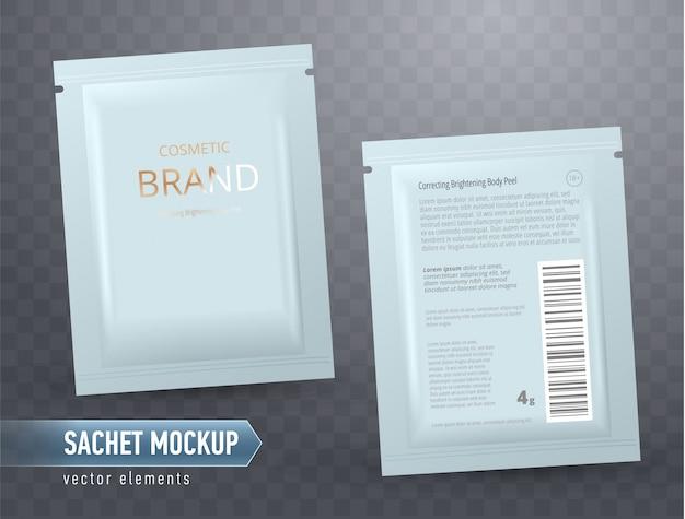 Vektor realistische leere packung, einwegfolienbeutel für gesichtsmaske oder shampoo, isoliert. kosmetisches produkt zur gesichtspflege, hautbehandlung.