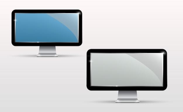 Vektor realistischer fernsehbildschirm. modernes, stilvolles lcd-panel. großes display eines computermonitors