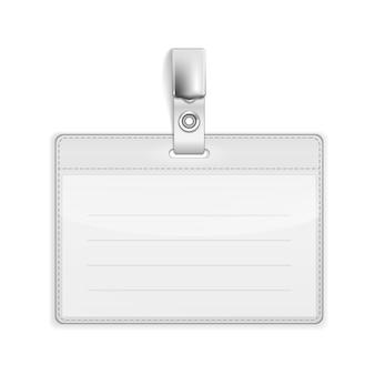 Vektor-realistischer kartenname oder id-inhaber lokalisiert auf weiß
