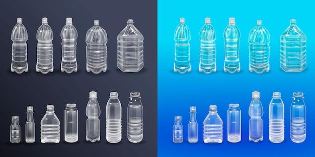 Vektor-realistischer plastikbehälter-mineralwasser-flaschen-getränkeaufkleber lokalisiertes leeres plastikwasser-flaschen-getränk, das mineralvektor plastikgegenstand trinkt