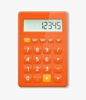 Vektor realistischer rechner. knopf elektronisch, ziffernberechnung, anzeige minus- und plusabbildung
