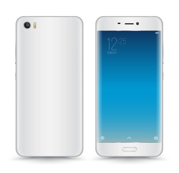 Vektor-realistischer weißer grauer smartphone