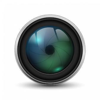 Vektor-realistisches kamera-fotoobjektiv mit fensterladen
