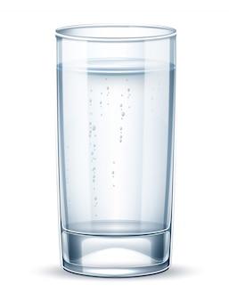 Vektor realistisches leeres glas mit sprudelwasser