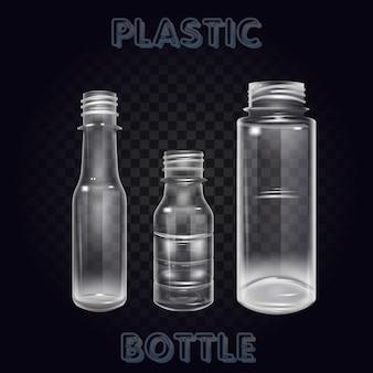 Vektor-realistisches plastikbehälter-mineralwasser-flaschen-getränk lokalisiertes leeres plastikwasser-flaschen-getränk, das mineralvektor plastikgegenstand trinkt