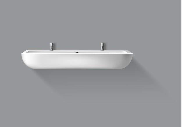Vektor realistisches waschbecken mit wasserhähnen für badezimmer