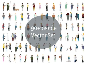 Vektor Reihe von illustrierten Menschen