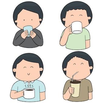 Vektor-reihe von menschen trinken