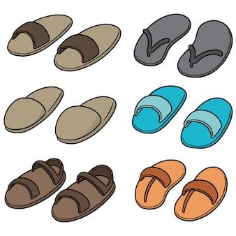 Vektor-reihe von pantoffeln