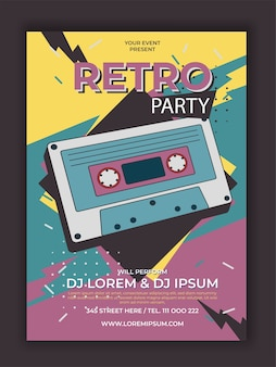 Vektor retro party poster mit kassettenillustration