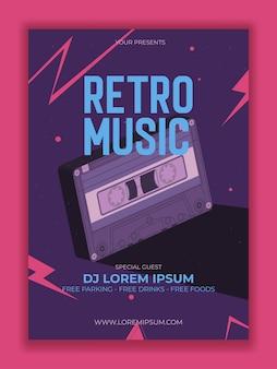 Vektor retro party poster mit kassettenillustration