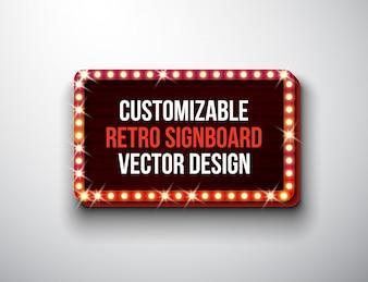 Vektor retro Schild oder Leuchtkasten Abbildung