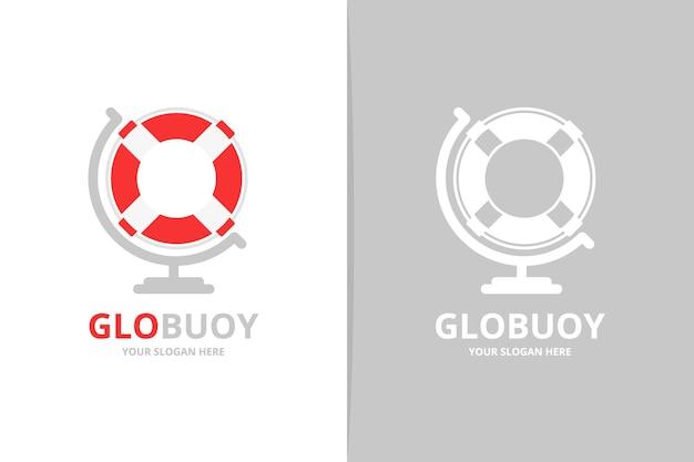 Vektor-rettungsring und globus-logo-kombination einzigartige design-vorlage für das rettungsboot-logo