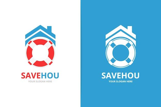 Vektor-rettungsring und immobilien-logo-kombination einzigartiges rettungsboot und logo-design-vorlage mieten
