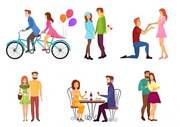 Vektor romantische datierungspaare flache isolierte zeichen mit jungen liebhabern. menschen küssen, gehen, geben geschenke.