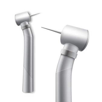 Vektor rostfreies dentalhandstück zum bohren und schleifen der seitenansicht lokalisiert auf weißem hintergrund