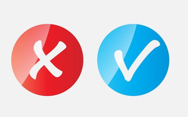 Vektor-rote und blaue häkchen-symbole