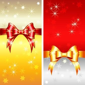 Vektor rote und goldene grußkarte mit weihnachtsbändern, bogen und schneeflocken