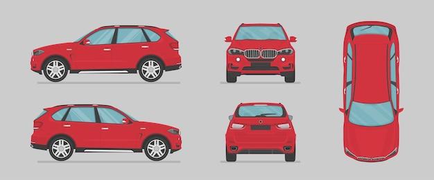Vektor rotes suv-auto von verschiedenen seiten