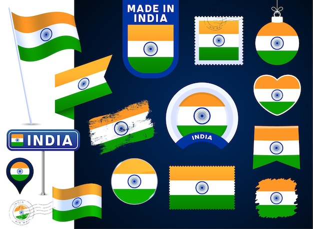 Vektor-sammlung der indischen flagge. große auswahl an designelementen der nationalflagge in verschiedenen formen für öffentliche und nationale feiertage im flachen stil. poststempel, gemacht in, liebe, kreis, straßenschild, welle
