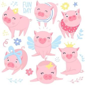 Vektor-sammlung lustige schweine. elemente für das design des neuen jahres. symbol von 2019 im chinesischen kalender. rosa schweinabbildung getrennt auf weiß. cartoon-tiere.